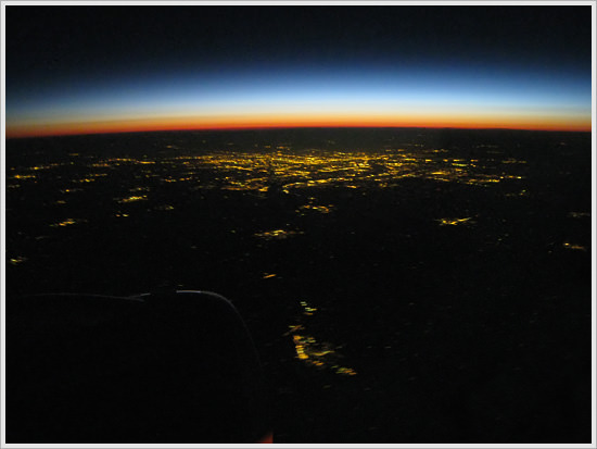 Sunrise over New York from the air