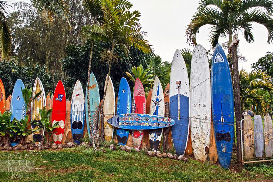 Surfboard fence on Maui, Hawaii