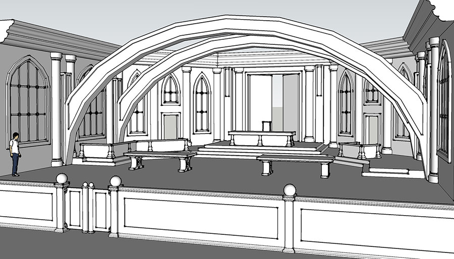 Virtual 3D Courtroom Illustration